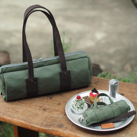 カーキグリーン帆布バッグ