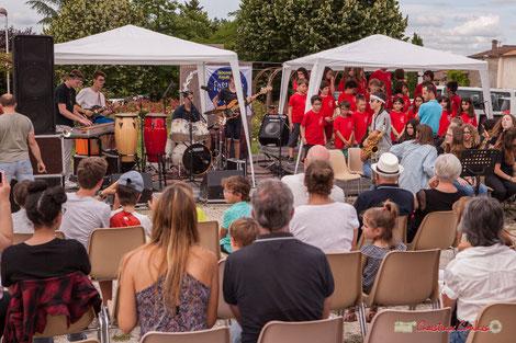 Chorale de l'école du Tourne accompagnée par le Big Band Jazz du collège de Monségur. Festival JAZZ360 2018, Cénac. Vendredi 8 juin 2018. Photographe : Christian Coulais