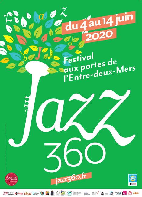 Affiche officielle Festival JAZZ360 2020; du jeudi 4 juin au dimanche 7 juin et du vendredi 12 juin au dimanche 14 juin 2020.
