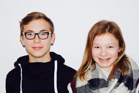Schülersprecher/in und Jahrgangssprecher/in Klasse 7: (1.) Paula (rechts) und (2.) Leon (links)
