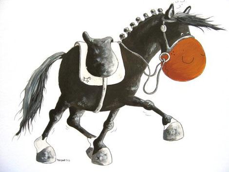 Dressurpferdecartoon, Dressurpferd, Reitpony, Dressurpferdchen