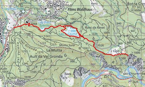 Wanderung Wanderroute Flims - Caumasee - Conn (Il Spir)