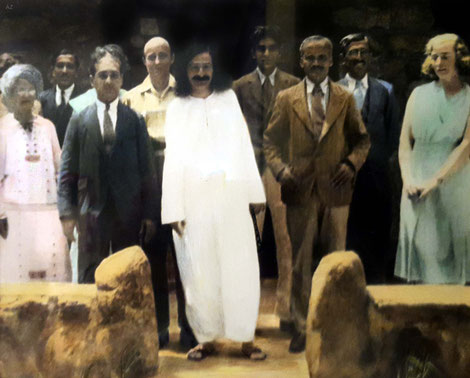 1932 : Meher Baba at Harmon, New York. Dr. Ghani is next to Baba in the brown suit. Colourized image.