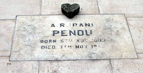 Pendu's grave is located at the Men's Cemetary, Lower Meherabad, India