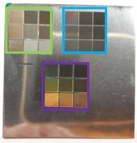 Foto der untersuchten Probe mit der Matrix der Texturen.