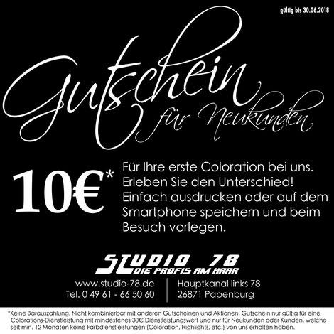 Neukunden-Gutschein Gutschein Coloration Friseur Studio 78