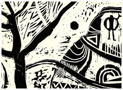 """Indianische Landschaft"" 1993, Holzschnitt"