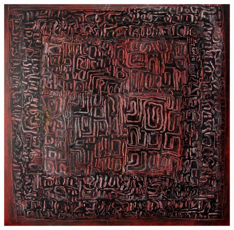 """Geordnetes Labyrinth"" 2011, ET/LW 100x100"