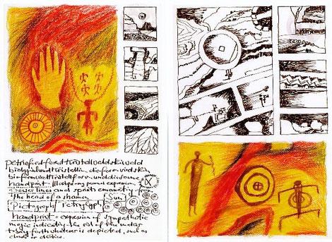 Seiten aus TB 1993, Buntstifte/Tusche