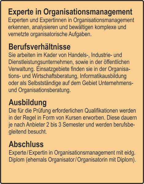 Der Organisator / Experte in Organisationsmanagement / Berufsverhältnisse / Ausbildung / Abschluss