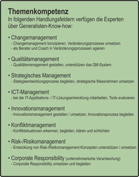 Der Organisator / Themenkompetenz / Changemanagement / Qualitätsmanagement / Strategisches Management / ICT-Management / Innovationsmanagement / Konfliktmanagement / Risk-/Risikomanagement / Corporate Responsibility