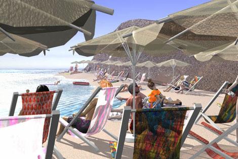 3D-Visualisierung, Diebstahlsicherung, Strand, Ferien, Urlaub, Baden, Gäste, Liegestuhl, Strandscene, Sommer, Badestrand