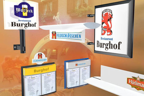 Visualisierung POS, Point of sale, Gastronomie, Menukartenhalter, Thekenleuchten, Aussenwerbung, Aussenwerbeartikel, Signage, Branding, Markenwelt