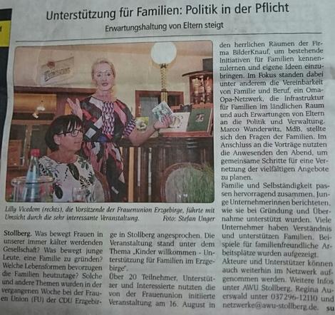 Unterstützung für Familien im Erzgbirge, Wochenspiegel, 25.08.2017