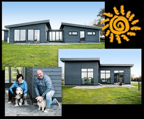 Foto-Collage: Unsere beiden Komfort-Ferienhäuser an der Nordsee vor Sylt - Bis zu 4 Hunde erlaubt