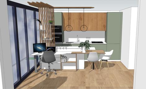 3D, projection 3D, plan 3D, cuisine, plan cuisine, aménagement cuisine, cuisine ouverte, Décoratrice d'intérieur 92, Décoratrice d'intérieur Boulogne-Billancourt, cuisine blanche