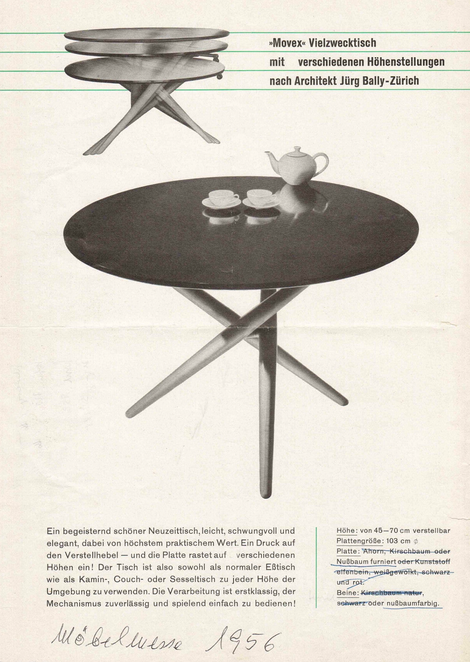 Movex table | cherry wood Jürg Bally for Wohnhilfe Zürich, 1951