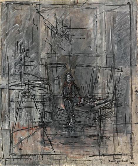 Isabel en el estudio. Alberto Giacometti 1949. Óleo sobre lienzo,105x87cm.Musée d´Orsay,Paris. Entramado de líneas que enjaulan a la protagonista, un punto focal de gamas grises y azuladas que revelan la ruptura del equilibrio.