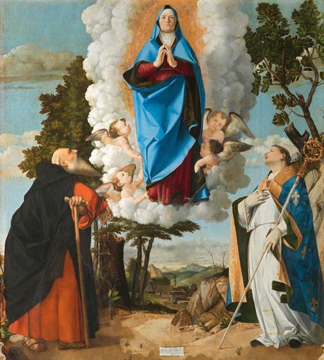 La Virgen en Gloria entre San Antonio Abad y San Luis de Tolosa.Óleo sobre tabla 175x162cm.Firmado en cartela 1506.Treviso.Duomo de Santa Maria Asunta. La Virgen con rasgos de anciana muy marcados dentro de una mandorla azul sostenida por cuatro ángeles.