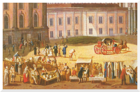 Gemälde von Carl Christian Baron Potsdam - Alter Markt mit Blick in die Schlossstraße (ca. 1772)
