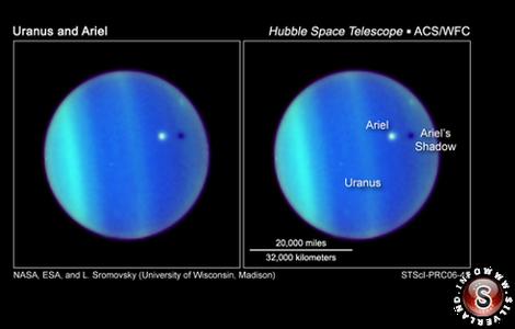Transito di Ariel sul disco del pianeta, nel 2007. Immagine ripresa dal Telescopio spaziale Hubble.