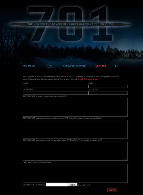 """Modulo di presentazione """"prove"""" per altre richieste contattare info@701themovie.com"""