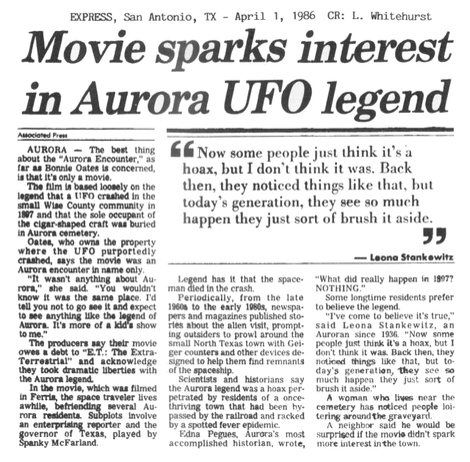 Altro quotidiano, Express, San Antonio, 1 April 1986 che documenta l'accaduto