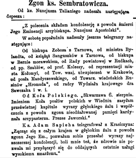 Zgon ks, Sembratowicz