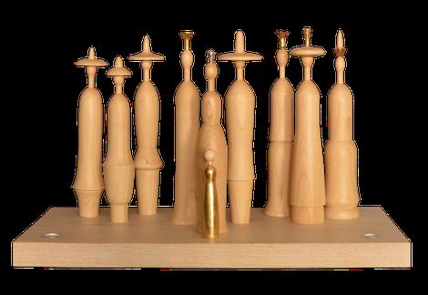 Lichtgestalten, modern Krippe, Blattgold, Kerzen, Krippenfiguren, Erzgebirge, Volkskunst, handwerk