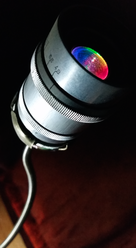 Objektiv Kamera LED upcycling Lichtobjekt Beleuchtung