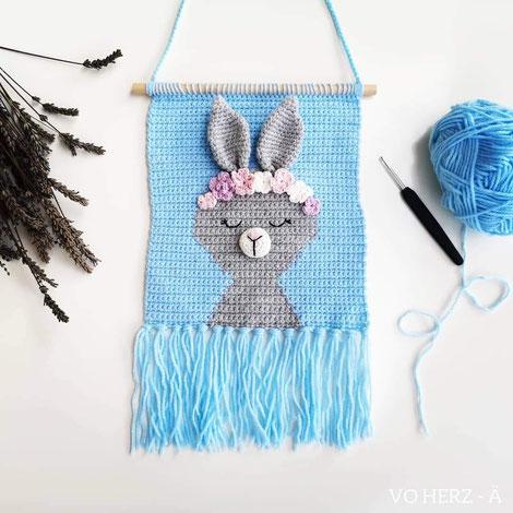 Wandbild Hase blau von Vo-Herz-Ä