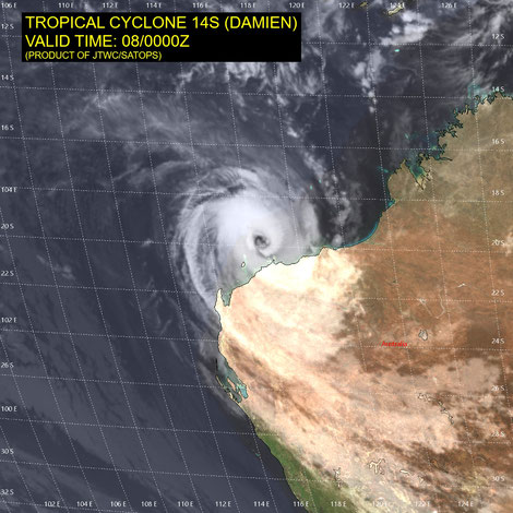 Satellite image of Tropical Cyclone Damien, 08/02/2020, image from JTWC