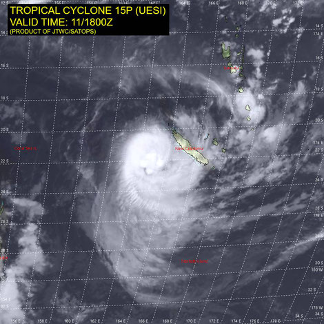 Satellite image of Tropical Cyclone Uesi, 12/02/2020, image from JTWC