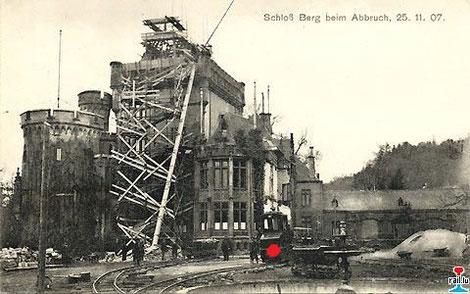 Abriss Schloss Colmar-Berg im Jahr 1907; Baustellenbahn; Deutzer Dieselmotor DME 147 für den Antrieb der Elektrolok