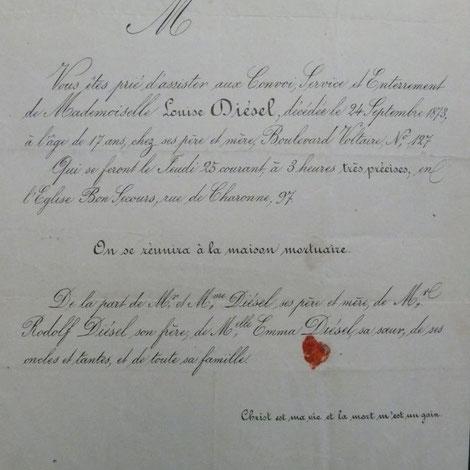 Sterbeurkunde für Louise Diesel, die 1856 geborene ältere Schwester von Rudolf Diesel.