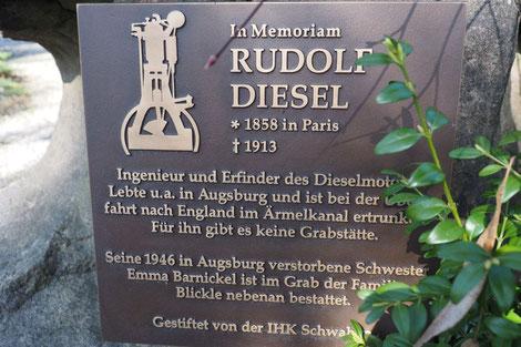 Protestantischer Friedhof Augsburg, Schrifttafel zum Tod von Rudolf Diesel, der keine eigene Grabstätte besitzt.