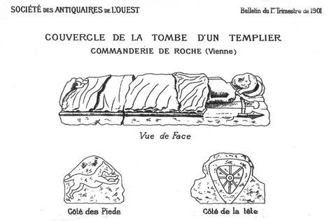 Dessin de la tombe d'un templier de la commanderie de Roche près de Lusignan