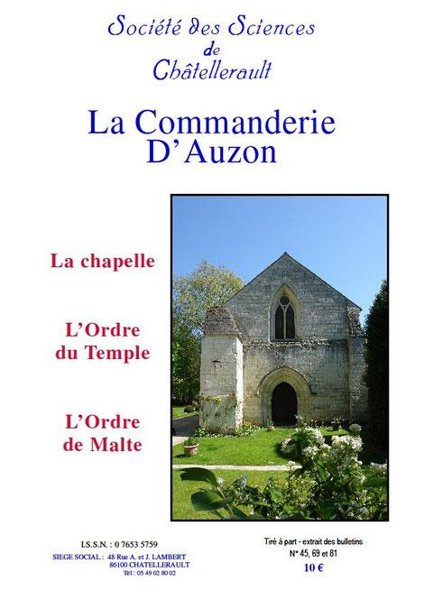 Couverture du tiré à part sur la commanderie d'Auzon édité par la société des sciences de Châtellerault