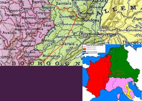 Frontière de Meersen entre Francie et Germanie en vert la Lotharingie