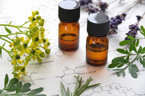 Ätherische Öle verfügen über stark regulative Eigenschaften. Ergänzt wird ihr Einsatz durch fette Trägeröle und Hydrolate.