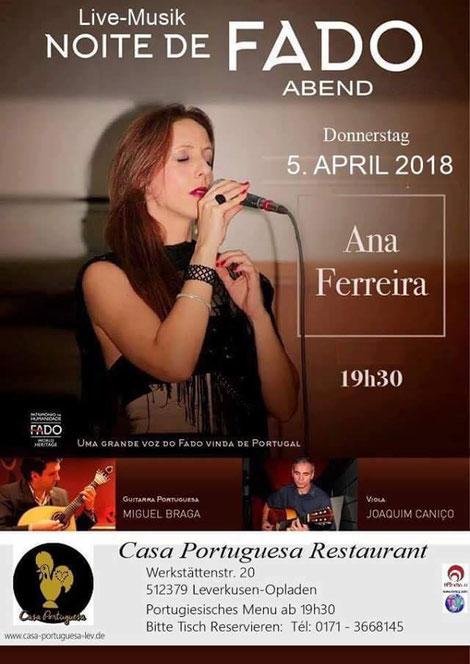 Fado Abend mit Live Musik am 22.03.2018 ab 19:30 Uhr