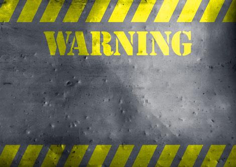 warningの看板の画像