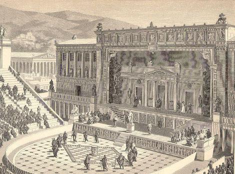 Vue de reconstitution du théâtre de Dionysos d'Athènes, 1891 (Réutilisation libre de droits)