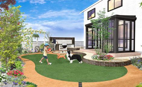 お庭で遊ぶ愛犬たちとガーデンルーム