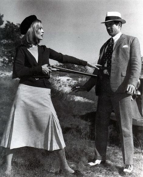 "Faye Dunaway and Warren Beatty in ""Bonnie and Clyde"" (dir. Arthur Penn, 1967)."