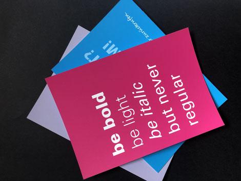 Postkarten mit z.B. Witzigen Sprüchen, mit Soft-Touch Cellophanierung