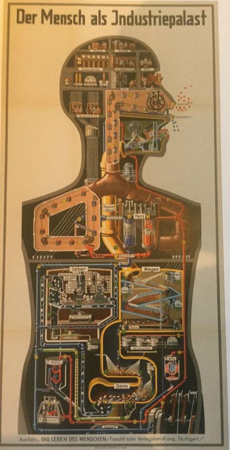 Fritz Kahns Lernplakat einer Menschmaschine aus dem Jahr 1926 wirft auch für das Zeitalter der entgrenzten, arbeitsbezogenen Smartphone-Nutzung wieder die Frage nach den Funktionsbedingungen werktätiger Menschen auf.