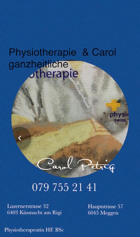 Phyisotherapie und   Lymphdrainage und Massage Carol Petrig Meggen, , EMR, ASCA Qualitsätslabel,  Meggen, Fussreflexmassage, Physio Verband, Massage  Meggen,
