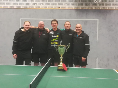 Meistermannschaft der 1. Klasse (v. l.): Marvin Rist, Matthias Gunsch, Matthias Sutterlüti, Dieter Weiskopf und Arno Schuchter