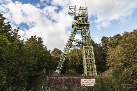 Fördergerüst auf der Zeche Carl Funke I, Essen, Ruhrgebiet, Deutschland, Industriekultur, Industrie, Zechen, Bergbau, Steinkohle